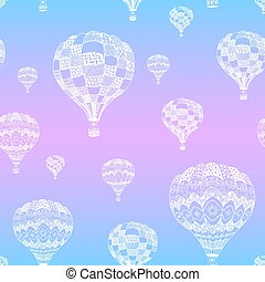 Vector seamless pattern of hot air balloon in zentangle style. White hand drawn hot air balloon on gradient background