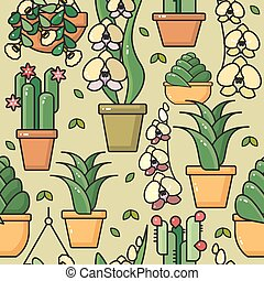 Vector seamless pattern of  house plants in ceramic pots.