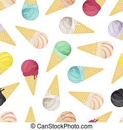 Vector seamless pattern of ice cream collection in cones. Cartoon flat style