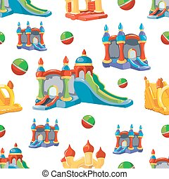 Vector seamless pattern of inflatable castles and children...
