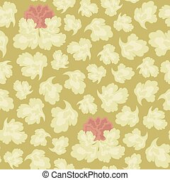 Vector seamless pattern of light-colored leaves and a pink flower on a sepia background with a floral ornament.