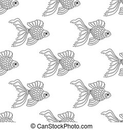 Vector seamless pattern of line art goldfish. Endless...