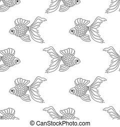 Vector seamless pattern of line art goldfish. Endless ...