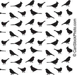 Vector seamless pattern of little birds silhouette
