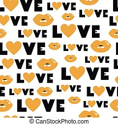 Vector seamless pattern of love word with hearts and lips