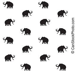 Vector seamless pattern of mammoth silhouette