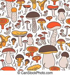 Vector seamless pattern of mushrooms on a white background