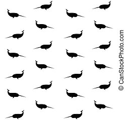 Vector seamless pattern of narwhal silhouette