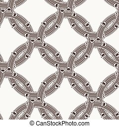 Vector seamless pattern of ornate interlocking circles