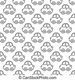 Vector seamless pattern of outline cartoon car.