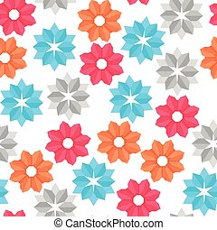 Vector seamless pattern of paper origami color flowers