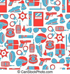 Vector seamless pattern of police equipment vector illustration