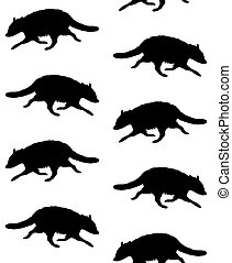 Vector seamless pattern of raccoon silhouette