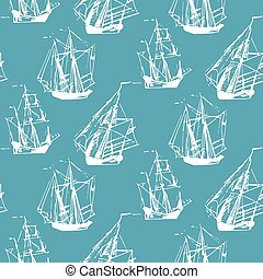 Vector seamless pattern of sailing ships in the sea in ink line style. Hand drawn boats endless background.