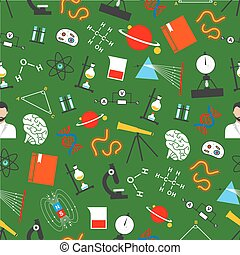 Vector seamless pattern of science or study items