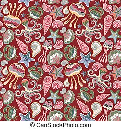 Vector seamless pattern of sea life, fishes, whale, corals and sea plants in bright colors. Beautiful seamless pattern. Vector backdrop. Use for wallpaper, pattern fills, web page background.