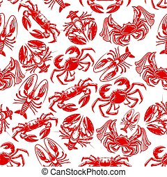 Vector seamless pattern of seafood fishing catch