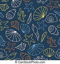 Vector seamless pattern of seashells