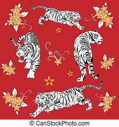 Vector seamless pattern of several beautiful tigers on a red background.