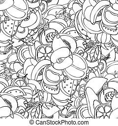 Vector Seamless Pattern of Sketch Fruits