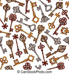 Vector seamless pattern of sketch vintage keys