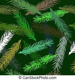 Vector seamless pattern of spruce branches on a green background.