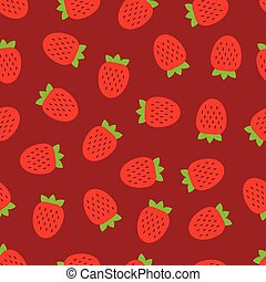 Vector seamless pattern of strawberry on red background.