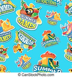 Vector seamless pattern of summer games on inflatable...
