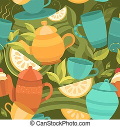 Vector seamless pattern of tea.