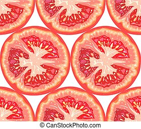 Vector seamless pattern of tomato slice on white background. Tomato cut background