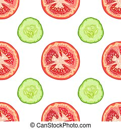 Vector seamless pattern of tomato slices and cucumber slices on white background