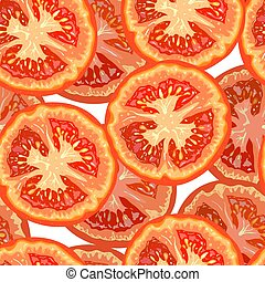 Vector seamless pattern of tomato slices on white background