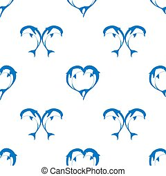 Vector seamless pattern of two bouncing dolphin couple in...