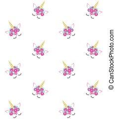 Vector seamless pattern of unicorn face