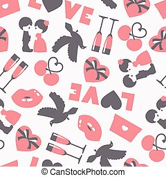 Vector seamless pattern of wedding and love symbols