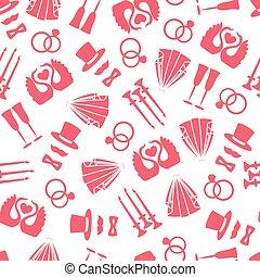 Vector seamless pattern of wedding symbols