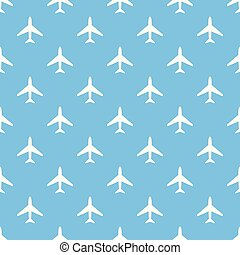 Vector seamless pattern of white airplanes on blue background.