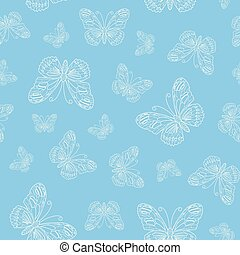 Vector seamless pattern of white butterfly outline on blue background