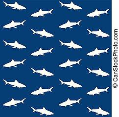Vector seamless pattern of white shark silhouette