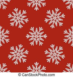 Vector Seamless Pattern of White Snowflakes on a Red Background