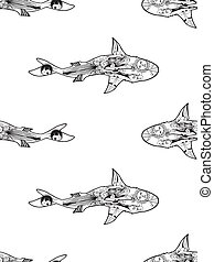 Vector seamless pattern of zentangle shark on white background. Coloring page book anti stress for adult shark top view.