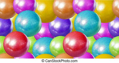 Vector Seamless Pattern, Pastel Colores Balls Background, Children Toys, Dragee Sweets, Plastic Spheres.