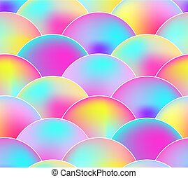 Vector Seamless Pattern, Rainbow Colors, Scale Background.