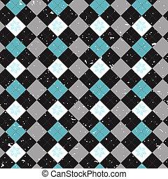 vector seamless pattern Scottish tartan Black Watch, black, white, blue