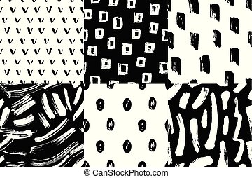 Vector seamless pattern set. Abstract hand drawn grunge ink textures