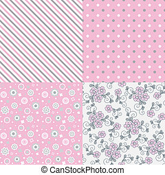 Vector seamless pattern set.