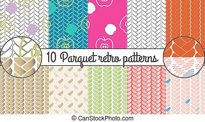 Vector seamless pattern set. Parquet retro background