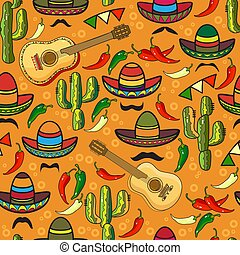 Vector seamless pattern. Sombrero, guitar, pepper, cactus.