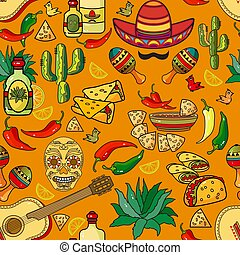 Vector seamless pattern. Sombrero, guitar, pepper, cactus.