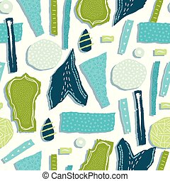 Vector seamless pattern. Torn paper decorated paint and ink spots. Different shapes with rough ribbed and jagged edges